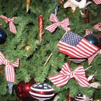 Patriotic Bows and Flags in tree