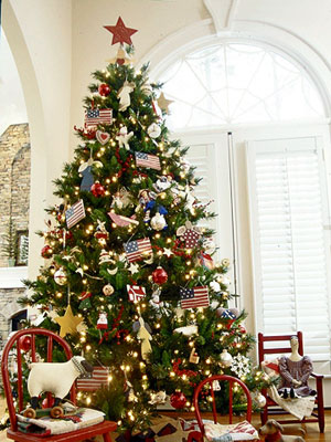 Creative Christmas decor with bunting and patriotic Christmas displays