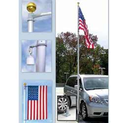 Multi-Use Telescoping Flagpole with Tire Mount & Ground Sleeve, CPOLE648