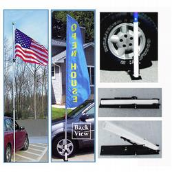 Lightweight Telescoping Flagpole, 16 ft. White Fiberglass, Includes Ball and Wheel Base, CPOLE782