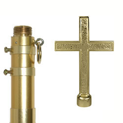 Adjustable Gold Aluminum Pole with Cross Ornament, CPOLEAAP10C