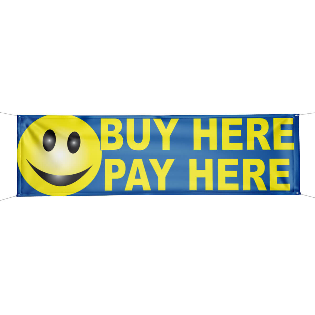 buy here pay here smiley face banner. Black Bedroom Furniture Sets. Home Design Ideas