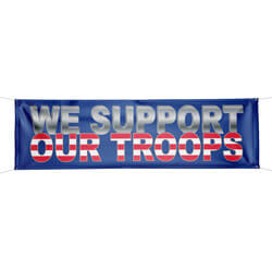 8-mil Vinyl We Support Our Troops Patriotic Banner, FBPP0000012853
