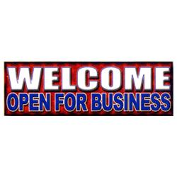 Welcome Open For Business Patriotic Banner, DBANN310BMF216
