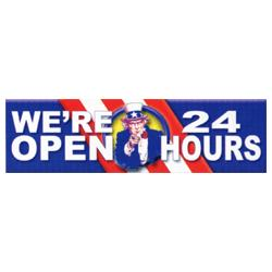 We're Open 24 Hours Patriotic Banner, DBANN620BUS104