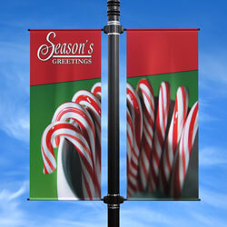 Candy Cane Double Street Pole Banner, DEKCCDB2448V
