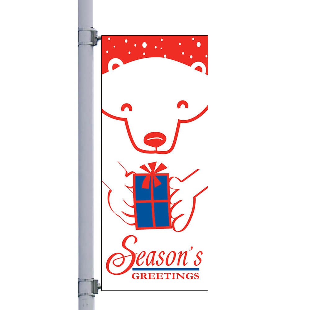 Bear With Gift Street Pole Banner, FBPP0000009679