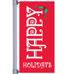 Vinyl Red Happy Holidays Street Pole Banner, FBPP0000010646