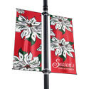 White Poinsettia Double Street Pole Banner