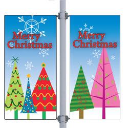 Frosty Forest Double Street Pole Banner,DEKFFDB3060V