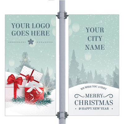 Holiday Frenzy Double Street Pole Banner,DEKHFDB3096V