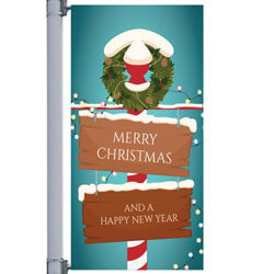 Holiday Wreath Street Pole Banner,DEKHW3084V