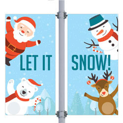 Let It Snow Double Street Pole Banner,DEKLISDB3084V
