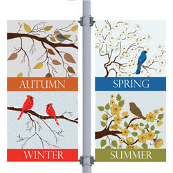 Seasonal Birds Double Street Pole Banner,DEKSBDB3060V
