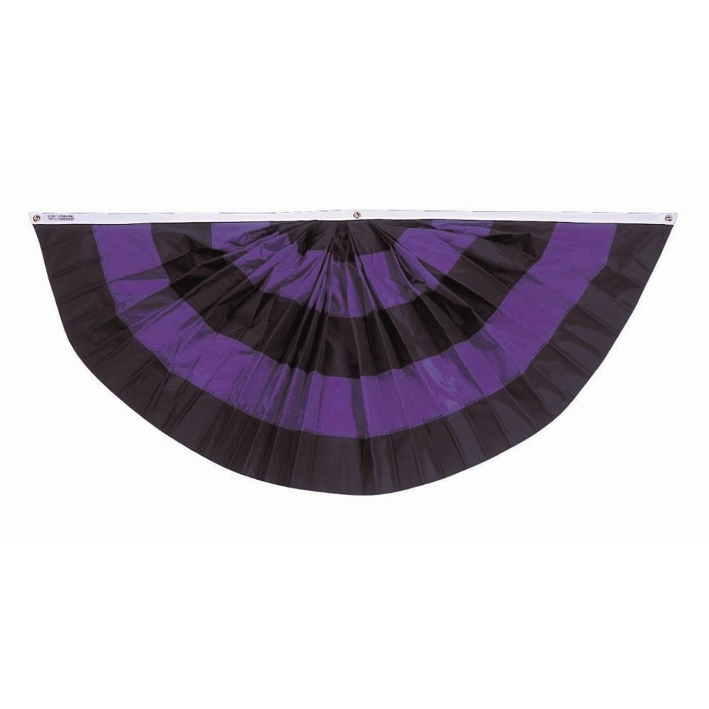 Full Fan For Mourning Black Purple Stripes