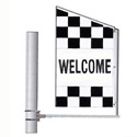 Checkered Welcome Crazy Flag: Double Face Center Panel, DFLAGDR236FF