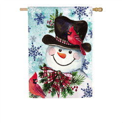 Cardinal Friends Snowman Suede House Flag EE13S8916H