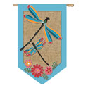 Dragonfly Burlap House Banner; EE13B3247