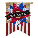 Patriotic Welcome Burlap House Banner, EE13B3765BL
