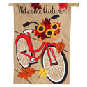 Autumn Bicycle Burlap House Flag, EE13B4503BLH
