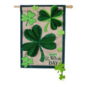 Shamrocks Burlap House Flag, EE13B8972H