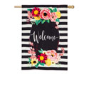 Floral Swag Welcome House Flag, EE13B9078BLH