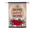 Patriotic Floral Home Sweet Home House Flag, EE13B914BLH