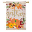 Autumn Gather Burlap House Flag, EE13B9326H