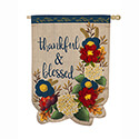 Thankful and Blessed Floral Linen House Flag, EE13L8663H