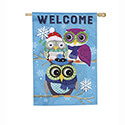 Winter Owls Linen House Flag, EE13L8728H