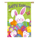 Bunny with Eggs Suede House Banner, EE13S4102