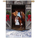 Horse Family Christmas Suede House Flag, EE13S8213H