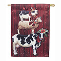 Christmas Farm Stack Suede House Flag, EE13S8711H