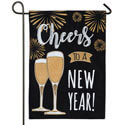 Cheers to a New Year Burlap Garden Flag, EE14B8305BLG