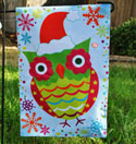Christmas Owl Fiber Optic Banner, EE14FB2669G