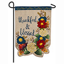 Thankful and Blessed Floral Linen Garden Flag, EE14L8663G