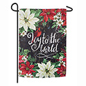 Joy to the World Poinsettias Suede Garden Flag, EE14S8643G