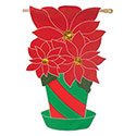 Christmas Poinsettia House Banner, EE158258BL