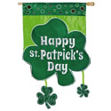 Happy St Patricks Day Shamrock Applique House Banner, EE158492