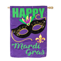 Happy Mardi Gras Applique House Banner (28 in x 40 in)