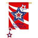 God Bless America Star House Flag  (28 in x 44 in)