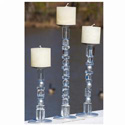 Clear/Silver Pillar Candle Holder, EE2GP005A