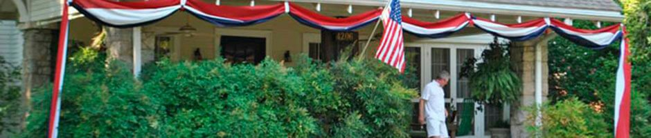 Drape bunting around the porch for patriotic parties.