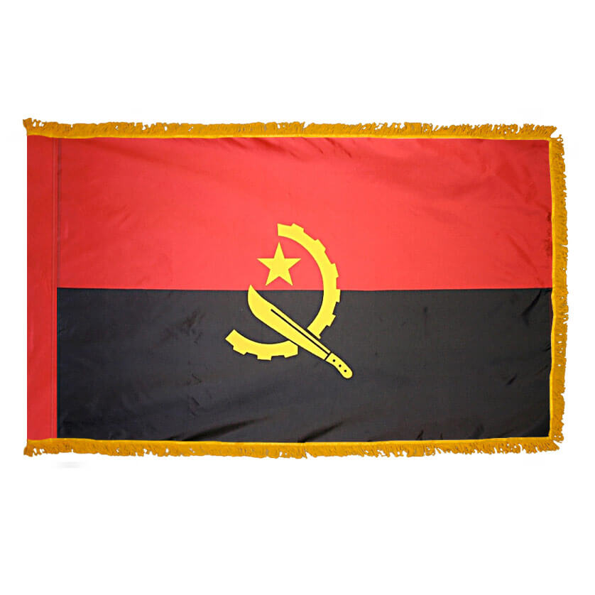 Angola Fringed Flag with Pole Hem, FANGO46PHF
