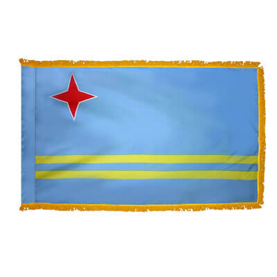 Aruba Fringed Flag with Pole Hem, FBPP0000009626