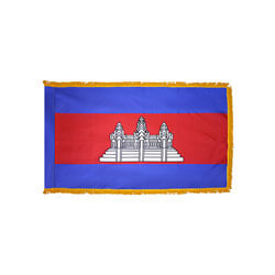 Cambodia Fringed Flag with Pole Hem, FBPP0000009844