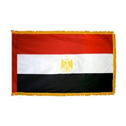 Arab Republic of Egypt Fringed Flag with Pole Hem