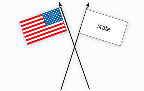American usa flag etiquette flagandbanner the american flag when displayed with another flag against a wall from crossed staffs should be on the right the flags own right and its staff should sciox Choice Image
