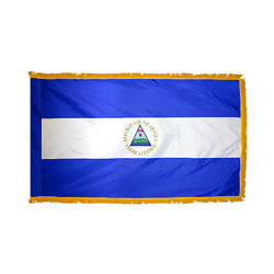 Nicaragua Government Fringed Flag with Pole Hem, FBPP0000011188