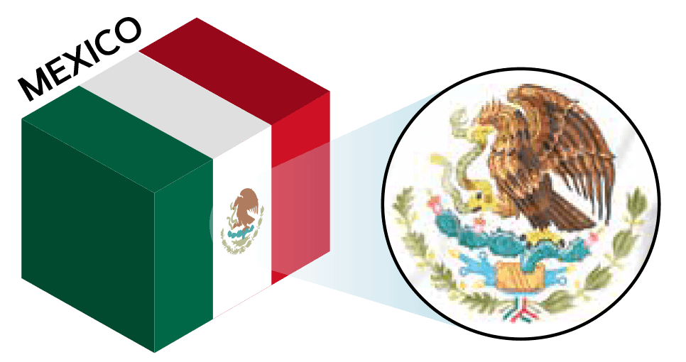 Mexico flag colors and symbol
